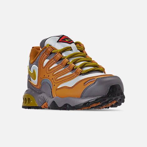 Three Quarter view of Men's Nike Air Terra Humara '18 Casual Shoes in Desert Ochre/Dark Citron/Barely Grey
