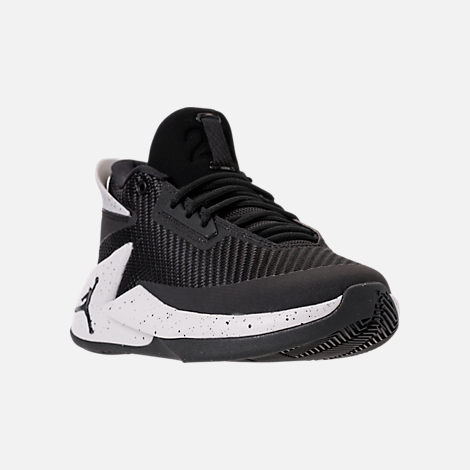 Three Quarter view of Boys' Grade School Air Jordan Fly Lockdown Basketball Shoes in Black/Black/Tech Grey