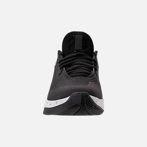 Front view of Boys' Grade School Air Jordan Fly Lockdown Basketball Shoes in Black/Black/Tech Grey