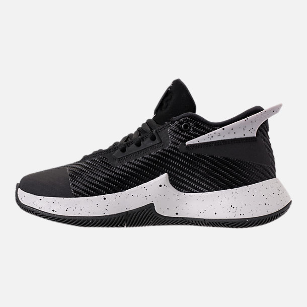 Left view of Boys' Grade School Air Jordan Fly Lockdown Basketball Shoes in Black/Black/Tech Grey