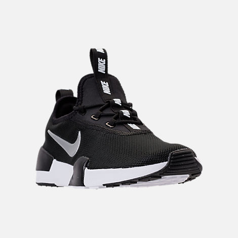 Three Quarter view of Boys' Big Kids' Nike Ashin Modern Casual Shoes in Black/Metallic Silver/White