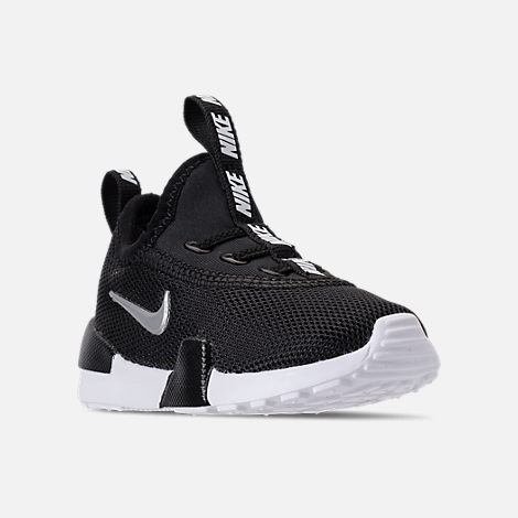 Three Quarter view of Boys' Toddler Nike Ashin Modern Casual Shoes in Black/Metallic Silver/White