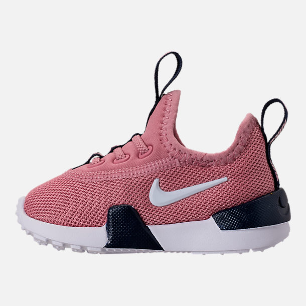 Left view of Girls' Toddler Nike Ashin Modern Running Shoes in Elemental Pink/White/Blackened Blue
