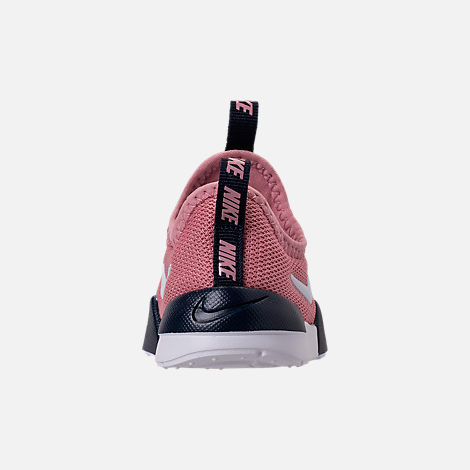 Back view of Girls' Toddler Nike Ashin Modern Running Shoes in Elemental Pink/White/Blackened Blue