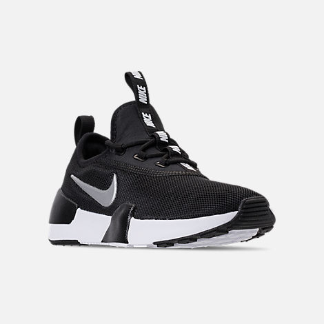 Three Quarter view of Boys' Little Kids' Nike Ashin Modern Casual Shoes in Black/Metallic Silver/White