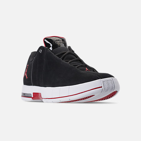 Three Quarter view of Men's Air Jordan Team Elite 2 Low Basketball Shoes in Black/Gym Red/White