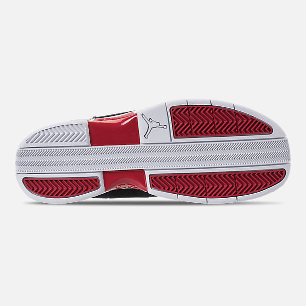 Bottom view of Men's Air Jordan Team Elite 2 Low Basketball Shoes in Black/Gym Red/White