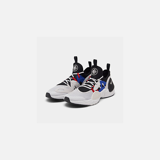 Three Quarter view of Men's Nike Huarache E.D.G.E. TXT Running Shoes in Black/Vast Grey/Game Royal