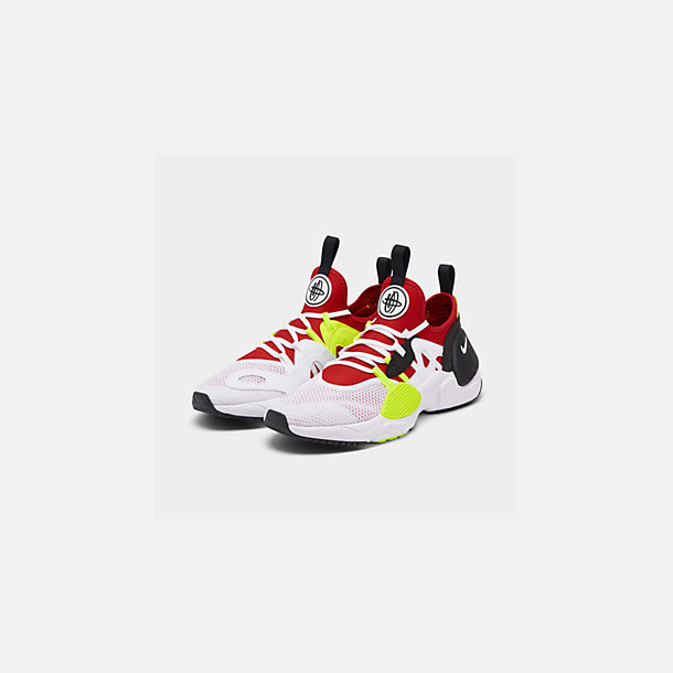 Three Quarter view of Men's Nike Huarache E.D.G.E. TXT Running Shoes in White/University Red/Volt/Black