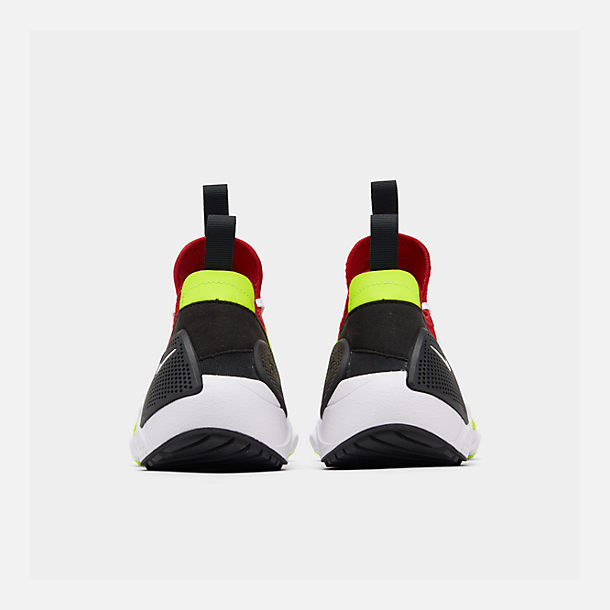 Left view of Men's Nike Huarache E.D.G.E. TXT Running Shoes in White/University Red/Volt/Black