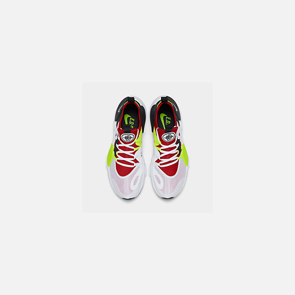 Back view of Men's Nike Huarache E.D.G.E. TXT Running Shoes in White/University Red/Volt/Black
