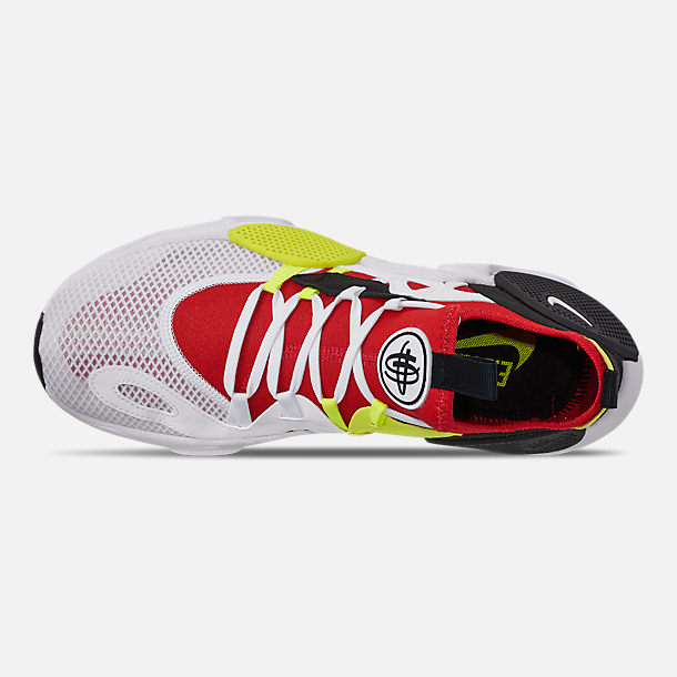 Top view of Men's Nike Huarache E.D.G.E. TXT Running Shoes in White/University Red/Volt/Black