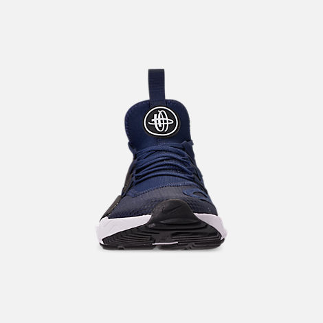 Front view of Men's Nike Huarache E.D.G.E. TXT Running Shoes in Midnight Navy/White/Black