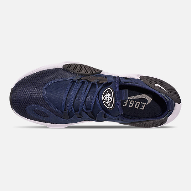 Top view of Men's Nike Huarache E.D.G.E. TXT Running Shoes in Midnight Navy/White/Black