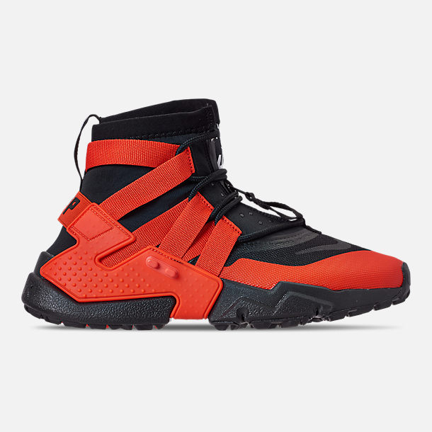 Right view of Men's Nike Huarache Gripp Casual Shoes in Black/Team Orange/White