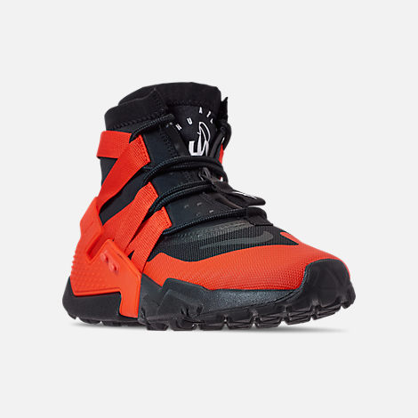 Three Quarter view of Men's Nike Huarache Gripp Casual Shoes in Black/Team Orange/White