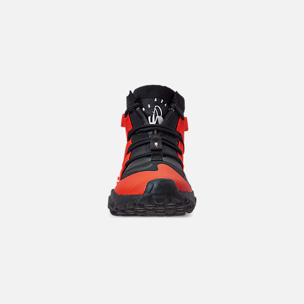 Front view of Men's Nike Huarache Gripp Casual Shoes in Black/Team Orange/White
