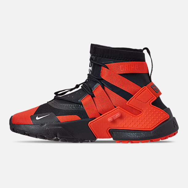 Left view of Men's Nike Huarache Gripp Casual Shoes in Black/Team Orange/White