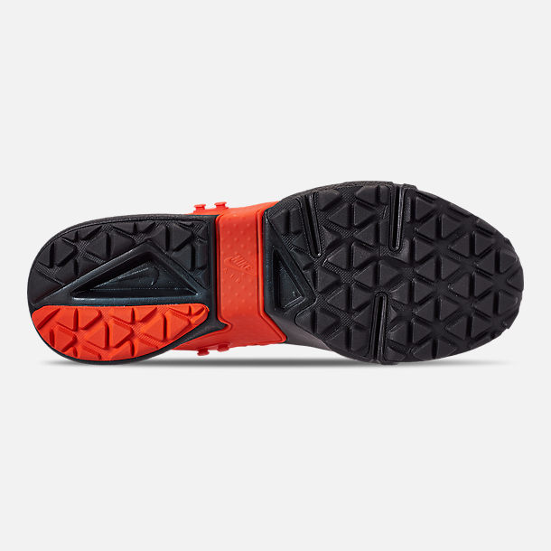 Bottom view of Men's Nike Huarache Gripp Casual Shoes in Black/Team Orange/White
