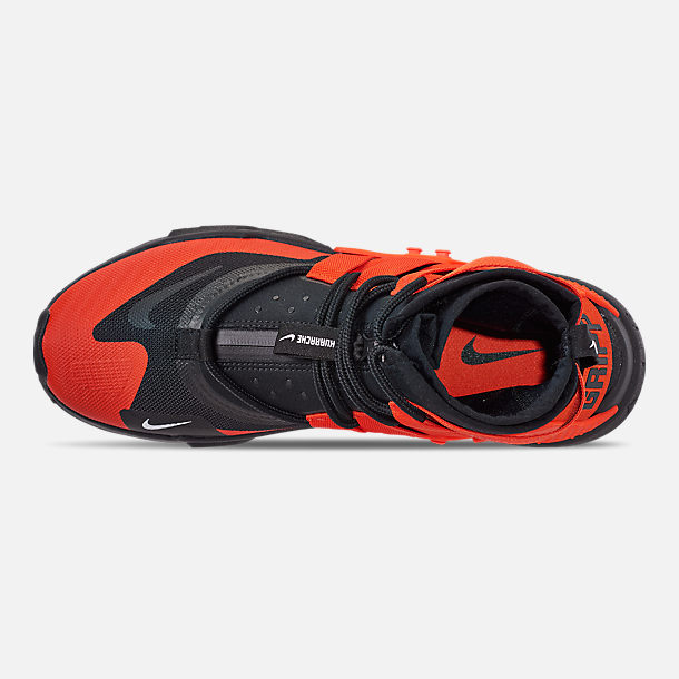 Top view of Men's Nike Huarache Gripp Casual Shoes in Black/Team Orange/White