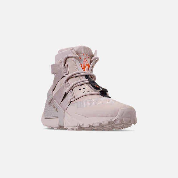 Three Quarter view of Men's Nike Huarache Gripp Casual Shoes in Desert Sand/String/Hyper Crimson
