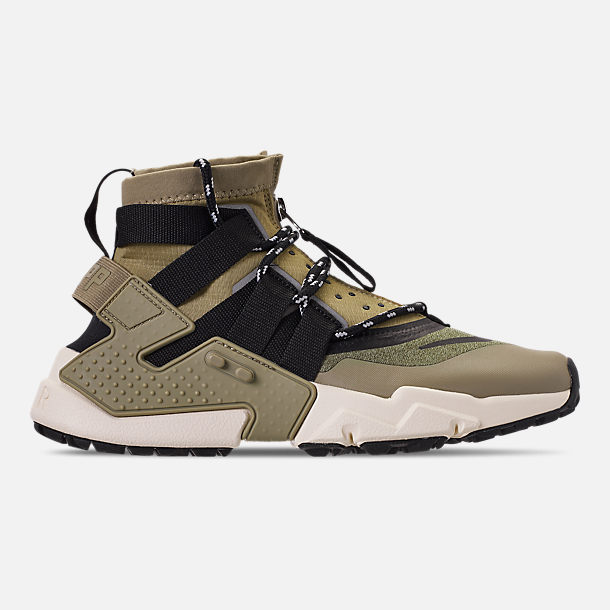 Right view of Men's Nike Huarache Gripp Casual Shoes in Neutral Olive/Black/Light Cream
