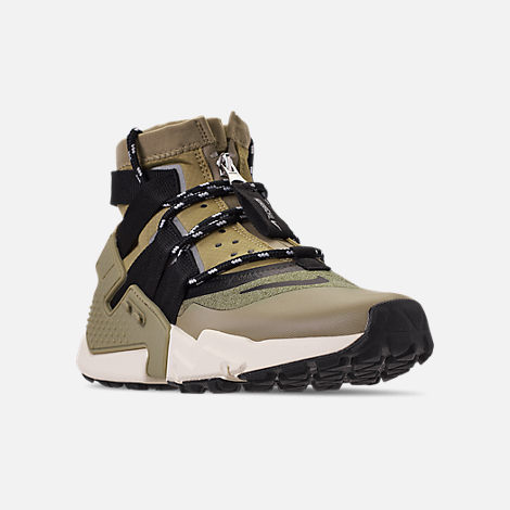 Three Quarter view of Men's Nike Huarache Gripp Casual Shoes in Neutral Olive/Black/Light Cream