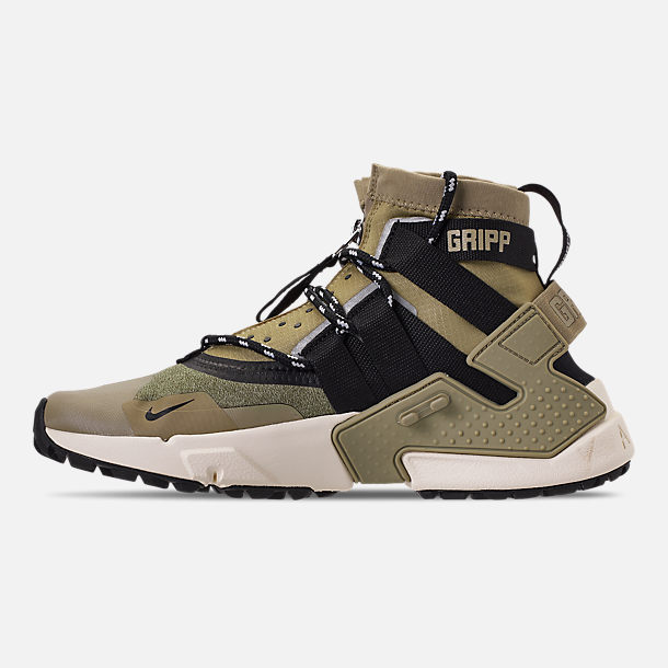 Left view of Men's Nike Huarache Gripp Casual Shoes in Neutral Olive/Black/Light Cream