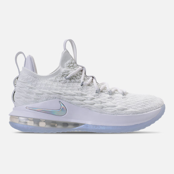 Right view of Men's Nike LeBron 15 Low Basketball Shoes in White/Metallic Silver/Atmosphere Grey