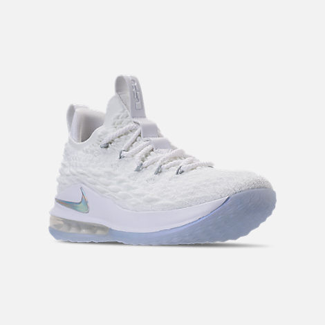 Three Quarter view of Men's Nike LeBron 15 Low Basketball Shoes in White/Metallic Silver/Atmosphere Grey