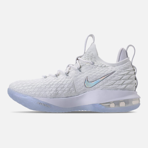 Left view of Men's Nike LeBron 15 Low Basketball Shoes in White/Metallic Silver/Atmosphere Grey