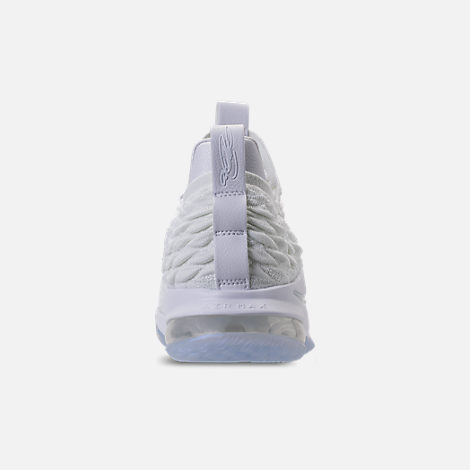 Back view of Men's Nike LeBron 15 Low Basketball Shoes in White/Metallic Silver/Atmosphere Grey