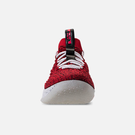 Front view of Men's Nike LeBron 15 Low Basketball Shoes in University Red/Black