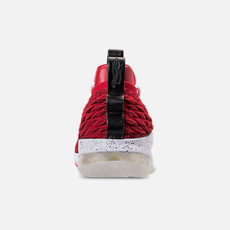 Back view of Men's Nike LeBron 15 Low Basketball Shoes in University Red/Black