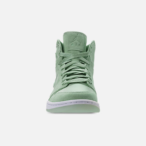 Front view of Women's Air Jordan Retro 1 High OG SOH Casual Shoes in Mint Foam/White/Metallic Gold