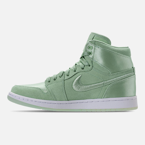 Left view of Women's Air Jordan Retro 1 High OG SOH Casual Shoes in Mint Foam/White/Metallic Gold