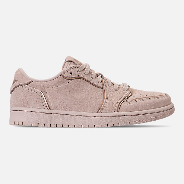 Right view of Women's Air Jordan Retro 1 Low No Swoosh Casual Shoes in Particle Beige/Metallic Red Bronze
