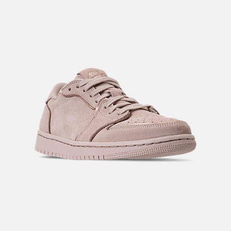 Three Quarter view of Women's Air Jordan Retro 1 Low No Swoosh Casual Shoes in Particle Beige/Metallic Red Bronze