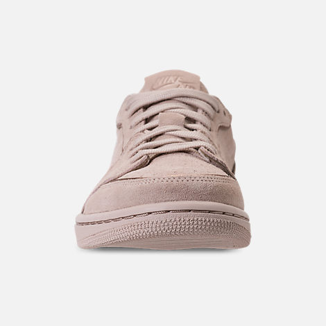 Front view of Women's Air Jordan Retro 1 Low No Swoosh Casual Shoes in Particle Beige/Metallic Red Bronze