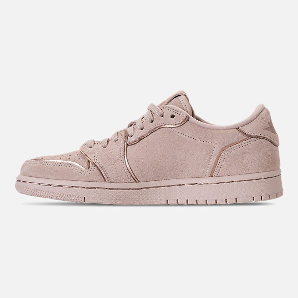 Left view of Women's Air Jordan Retro 1 Low No Swoosh Casual Shoes in Particle Beige/Metallic Red Bronze