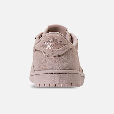 Back view of Women's Air Jordan Retro 1 Low No Swoosh Casual Shoes in Particle Beige/Metallic Red Bronze