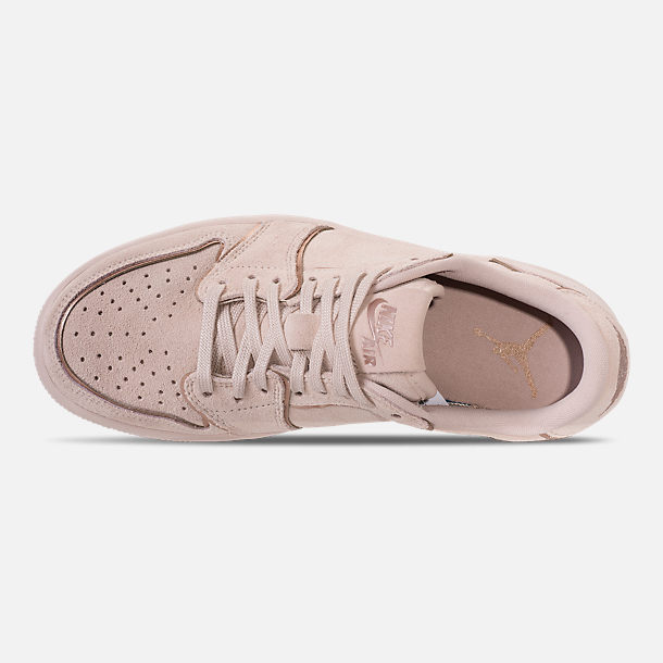Top view of Women's Air Jordan Retro 1 Low No Swoosh Casual Shoes in Particle Beige/Metallic Red Bronze