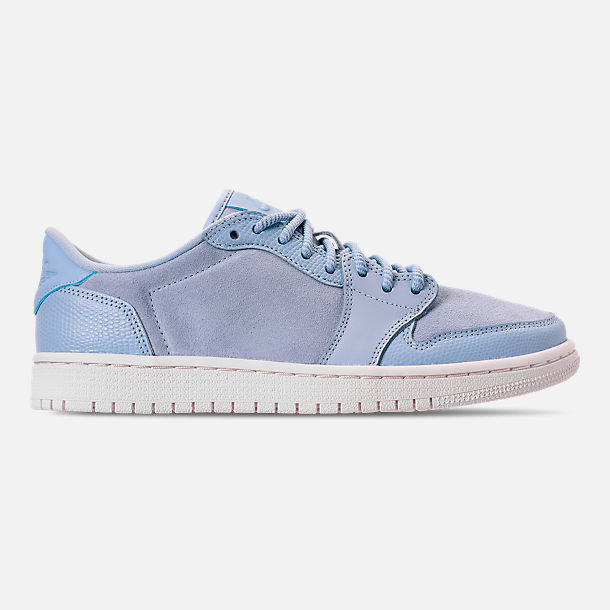 Right view of Women's Air Jordan Retro 1 Low No Swoosh Casual Shoes in Royal Tint/Phantom