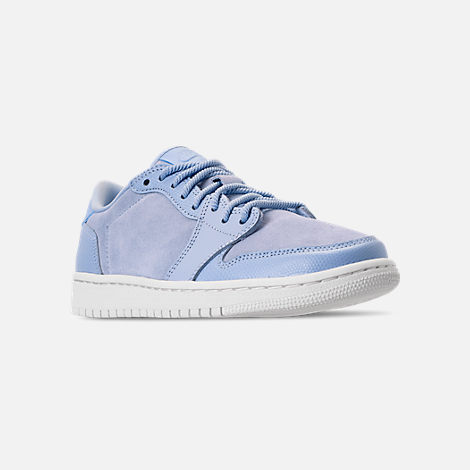 Three Quarter view of Women's Air Jordan Retro 1 Low No Swoosh Casual Shoes in Royal Tint/Phantom