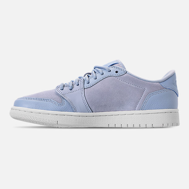 Left view of Women's Air Jordan Retro 1 Low No Swoosh Casual Shoes in Royal Tint/Phantom