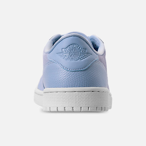 Back view of Women's Air Jordan Retro 1 Low No Swoosh Casual Shoes in Royal Tint/Phantom