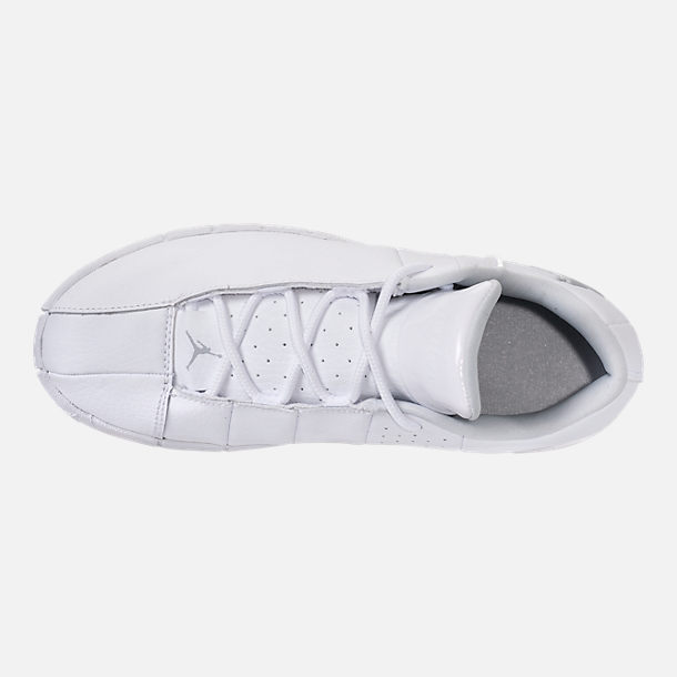 Top view of Boys' Little Kids' Jordan Team Elite 2 Low Casual Shoes in White/Metallic Silver/Pure Platinum