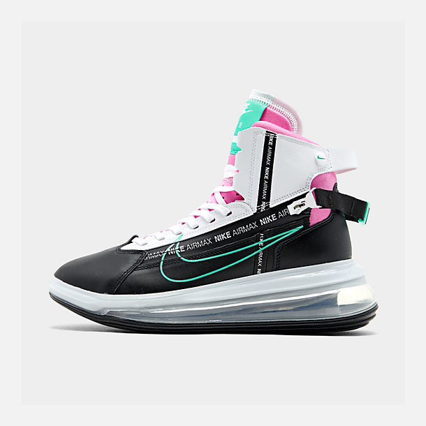 Right view of Men's Nike Air Max 720 Satrn Basketball Shoes in Black/Hyper Jade/White/Bright Crimson
