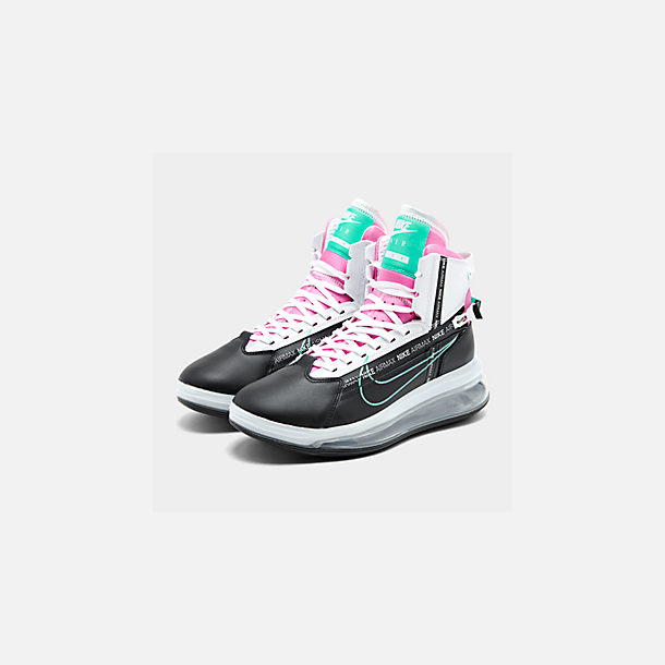 Three Quarter view of Men's Nike Air Max 720 Satrn Basketball Shoes in Black/Hyper Jade/White/Bright Crimson