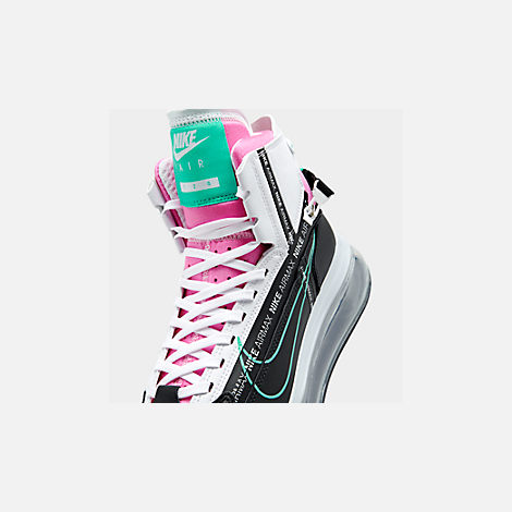 Front view of Men's Nike Air Max 720 Satrn Basketball Shoes in Black/Hyper Jade/White/Bright Crimson
